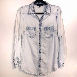 Acid Wash Denim Jean Chambray Button Up Shirt